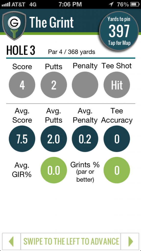 GPS golf app and score tracking